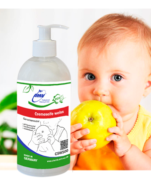 AMV Cremeseife weiss - geruchsneutral / White liquid soap (odorless) for washing fruits and berries - 500 ml
